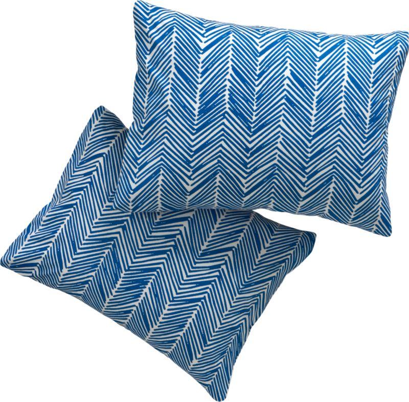 set of 2 standard blue chevron shams
