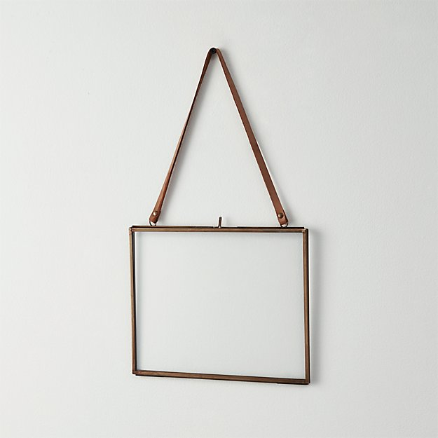 brass floating 5x7 picture frame