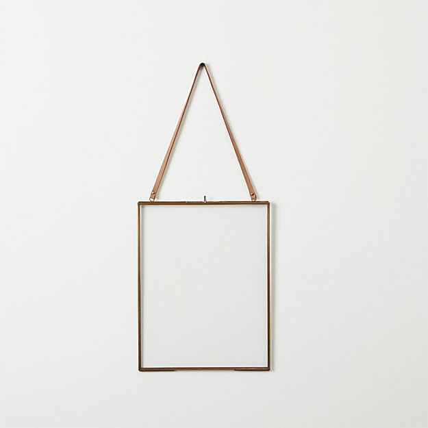 brass floating 8x10 picture frame cb2. Black Bedroom Furniture Sets. Home Design Ideas