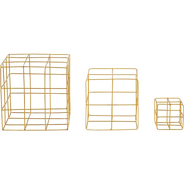 3-piece brass wire cube set