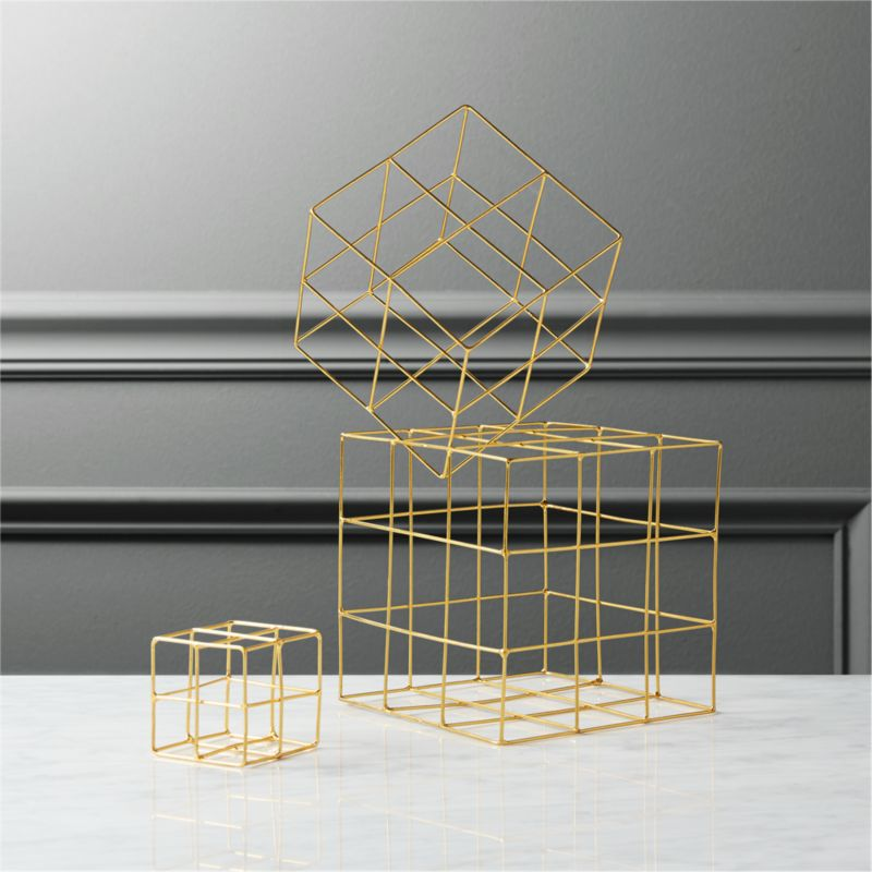 3-piece brass wire cube set