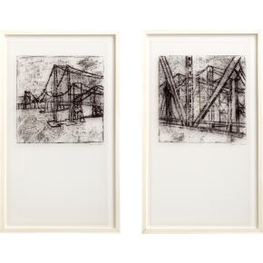 bridge architecture and landscape prints set of 2