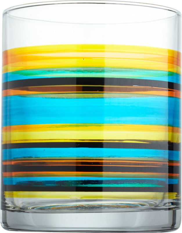 "<span class=""copyHeader"">stripe of the party.</span> Handmade glass cylinder is the perfect format for vibrant, hand-painted rings of yellow, orange, red, aqua and black.<br /><br /><NEWTAG/><ul><li>Handmade glass</li><li>Hand-painted</li><li>Hand wash recommended</li></ul>"