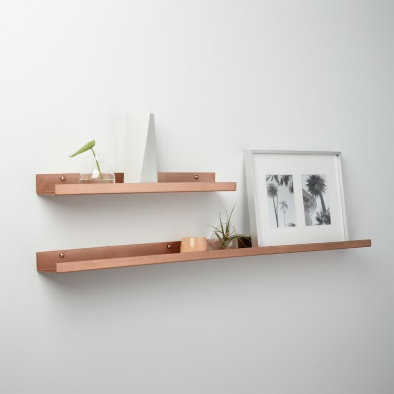 Brushed Copper Wall Shelves CB2