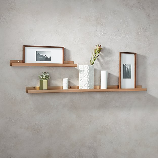 brushed copper wall shelves