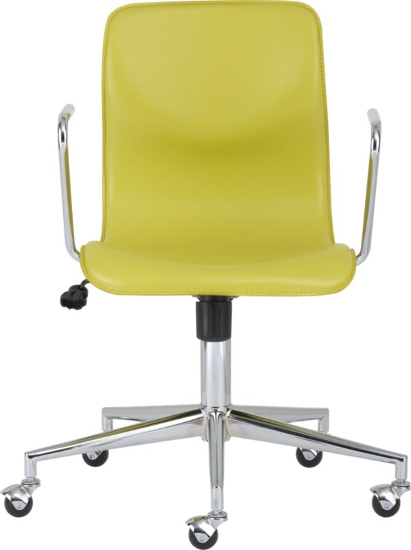 bubble chartreuse leather office chair