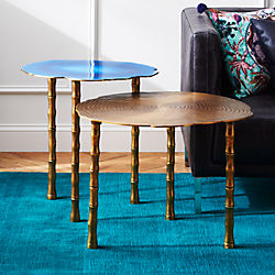 2-piece bronze and atol bamboo bunching side table set