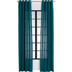 burlap blue-green curtain panel