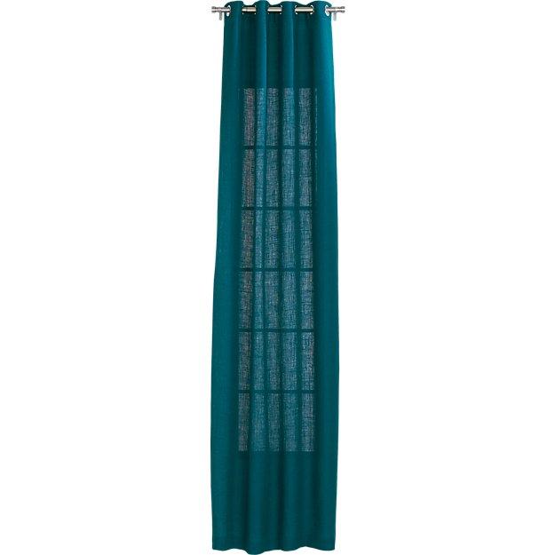 "burlap blue-green curtain panel 48""x120"""