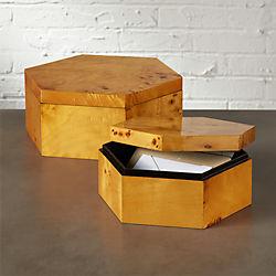 burlwood hexagon storage boxes