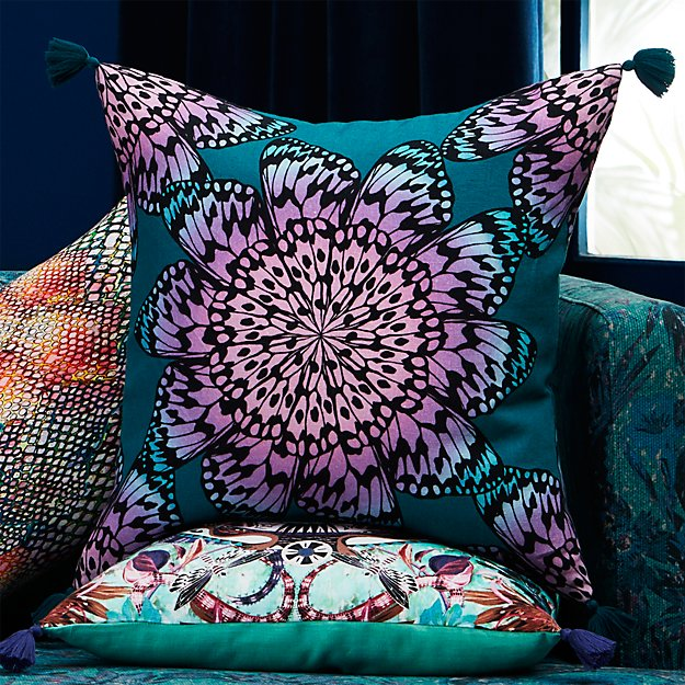 """butterfly wheel teal with tassels 20"""" pillow"""