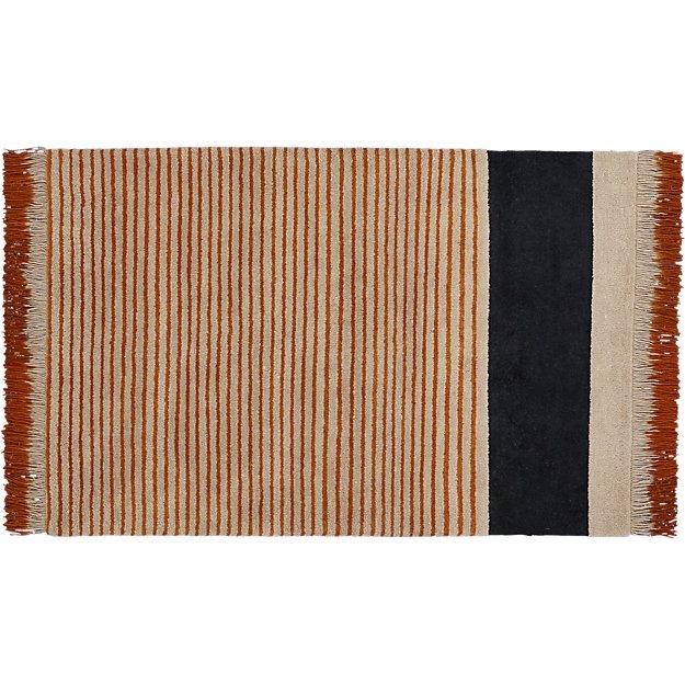 camel pinstripe rug 5'x8'