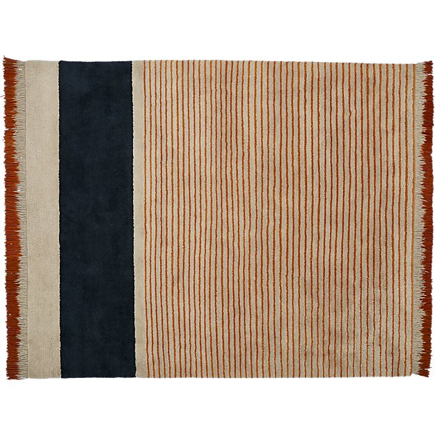 camel pinstripe rug 8'x10'
