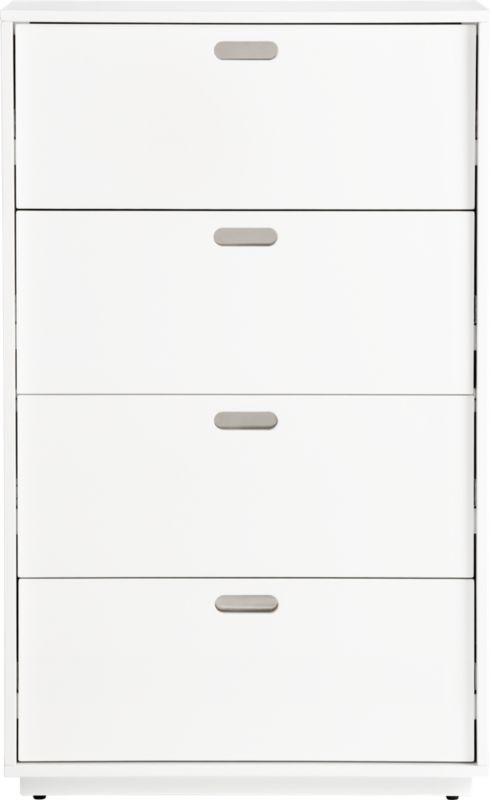 gloss white tall chest