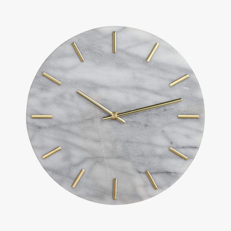 Carlo Marble And Brass Wall Clock Cb2