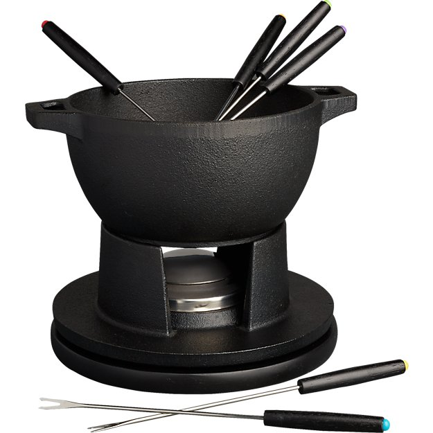 black cast iron fondue set