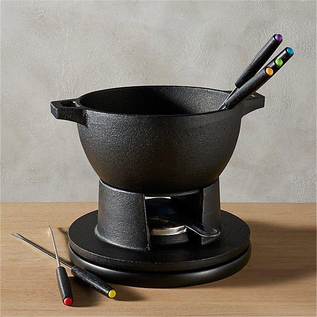 black cast iron fondue set