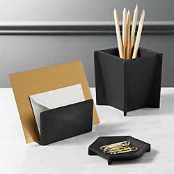 black cast desk accessories