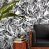 caymen black and white palm traditional paste wallpaper