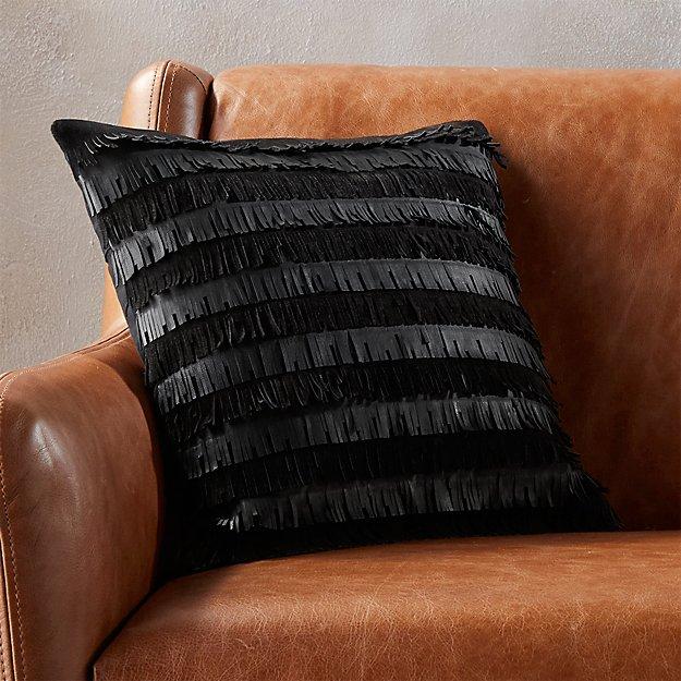 "celia leather fringe 16"" pillow"