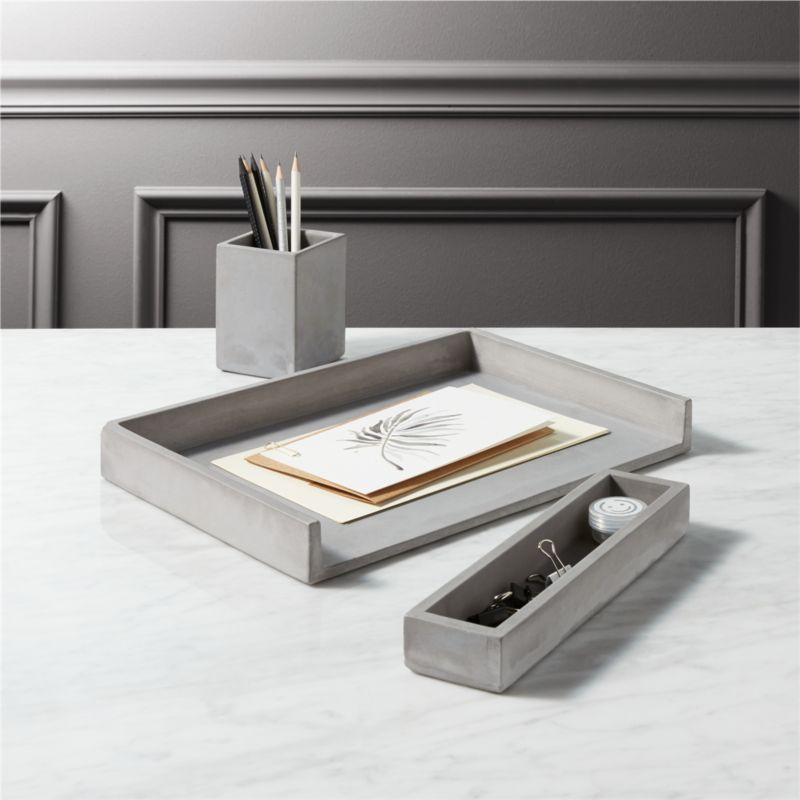 cement desk accessories