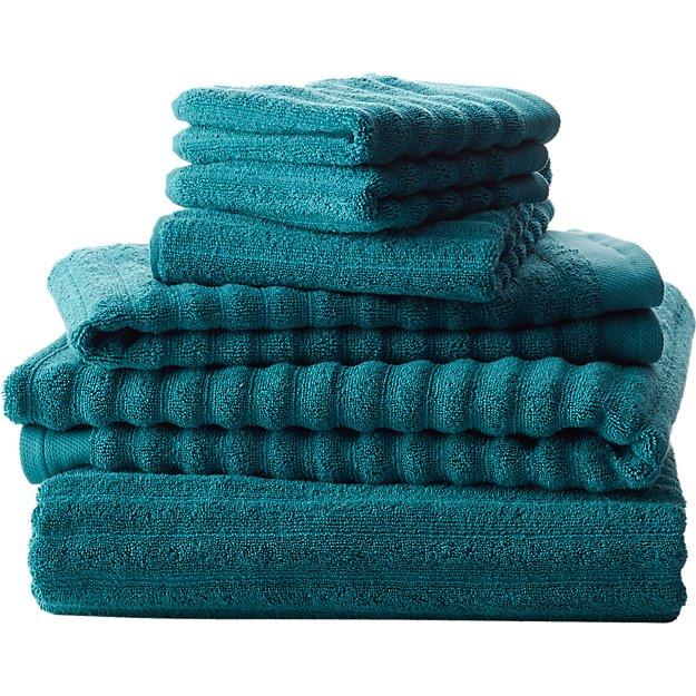 channel blue green cotton bath towels