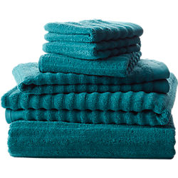 channel blue green cotton bath towels