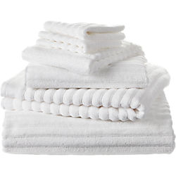 6-piece channel white cotton bath towel set