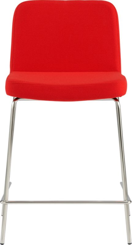"""<span class=""""copyHeader"""">the hot seat.</span> Pull up a seat and stay awhile. Plush stool dines comfy at counter height in a bright pop of red. Carefree acrylic basketweave is tailored trim with welt detail that traces rounded corners from curved shoulders to edge of seat. Tubular metal legs stand spare and sleek in polished nickel finish.<br /><br /><NEWTAG/><ul><li>Acrylic fabric in vibrant icon: red</li><li>Brushed nickel-plated tubular metal legs</li><li>24""""H seat sized for counter</li></ul><br />"""