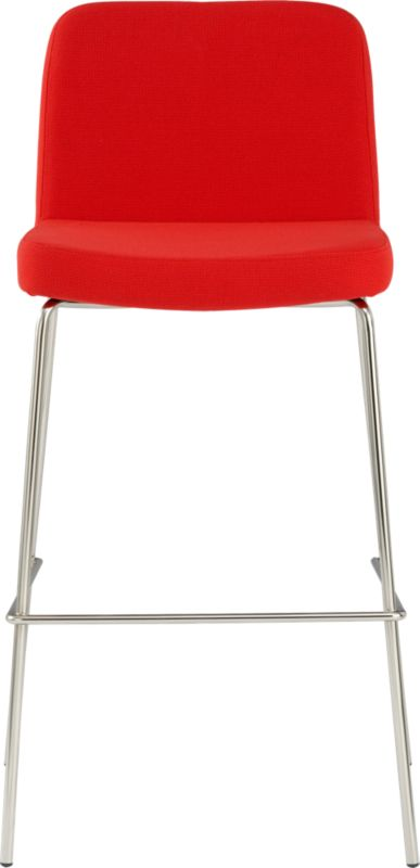 "<span class=""copyHeader"">the hot seat.</span> Pull up a seat and stay awhile. Plush stool sits comfy at the bar in a bright pop of red. Carefree acrylic basketweave is tailored trim with welt detail that traces rounded corners from curved shoulders to edge of seat. Tubular metal legs stand spare and sleek in polished nickel finish.<br /><br /><NEWTAG/><ul><li>Brushed nickel-plated tubular metal legs</li><li>30""H seat sized for bars</li></ul>"