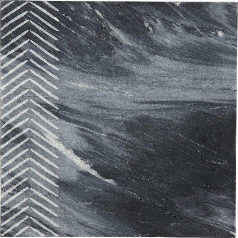 chevron grey marble server