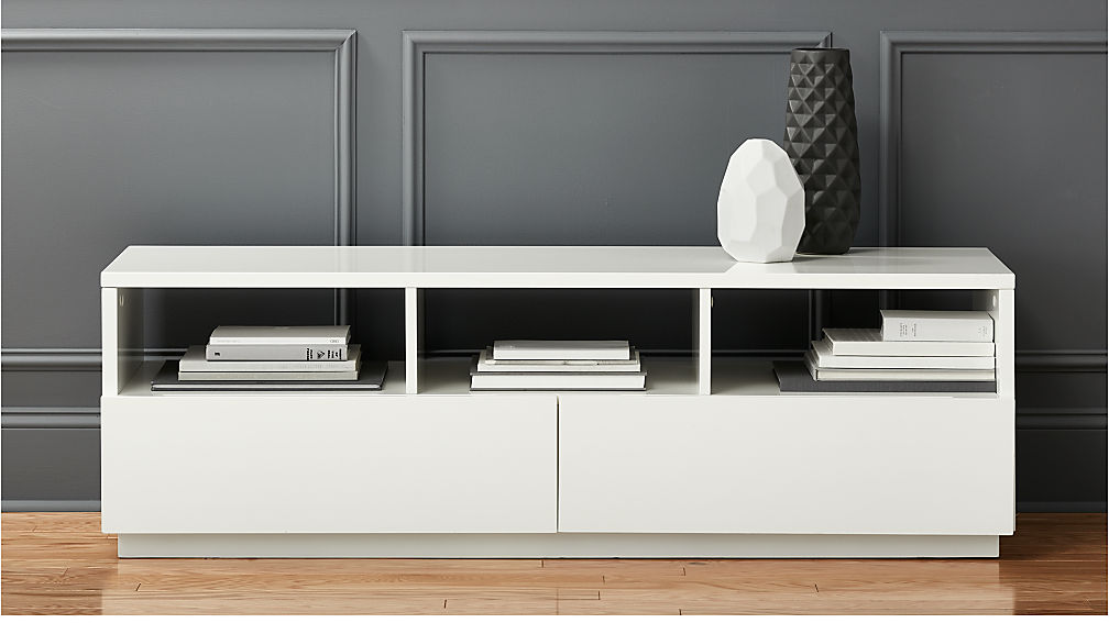 Chill white media console cb2 White media console