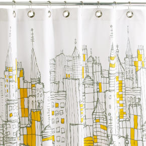 cityscape shower curtain shopping in CB2 shower curtains