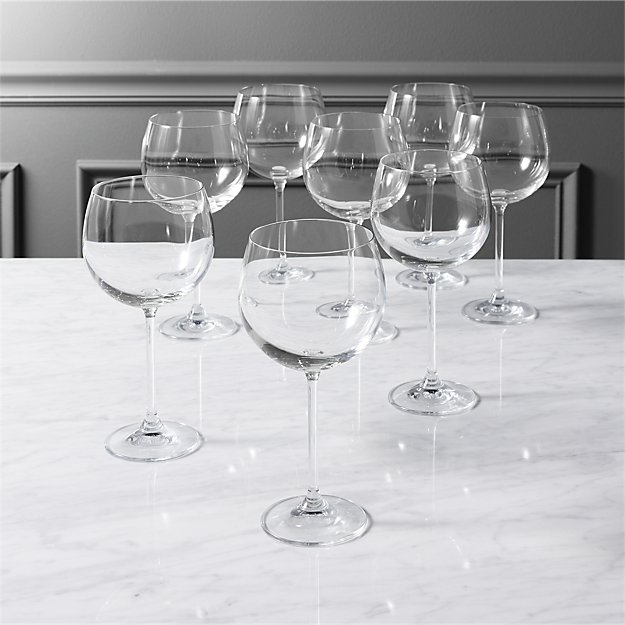 set of 8 clarity wine glasses