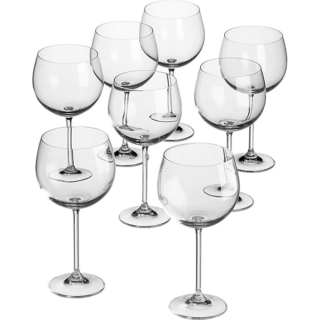 set of 8 clarity wine glasses