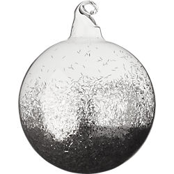 clear ball with silver glitter ornament