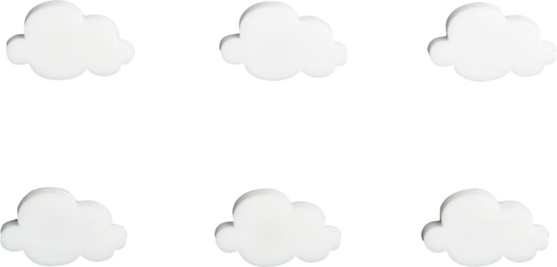 set of 6 cloud magnets