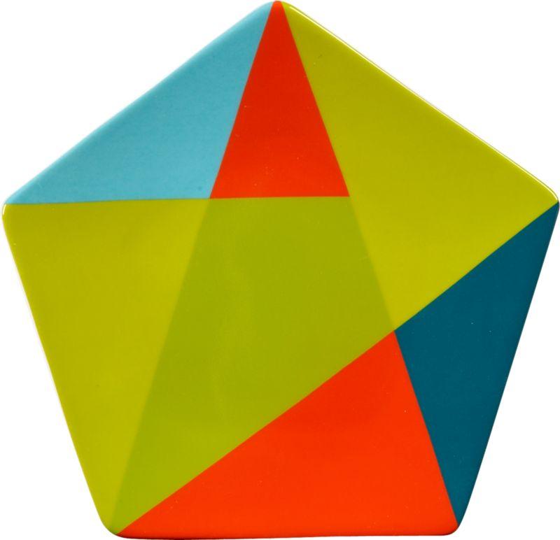 colorblock pentagon appetizer plate