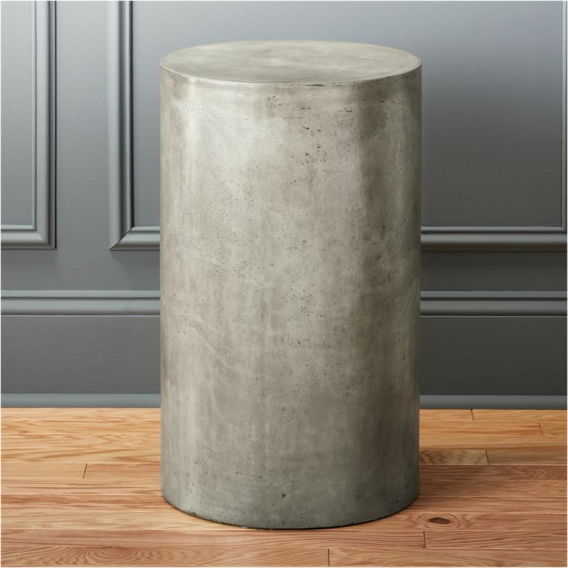 Column Small Grey Pedestal Table CB2