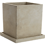 concrete pot with saucer