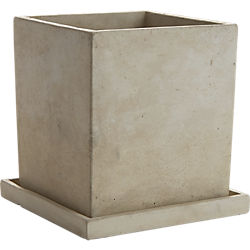 concrete pot with saucer