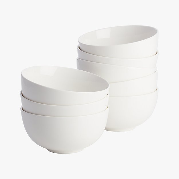 set of 8 contact white bowls