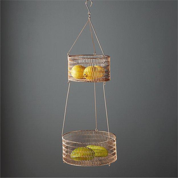 2-tier copper basket