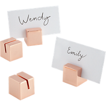copper place card holders set of four