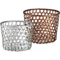 silver and copper baskets