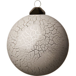 crackle white ball ornament