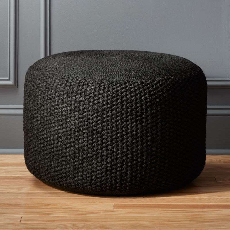 criss knit black pouf cb2. Black Bedroom Furniture Sets. Home Design Ideas
