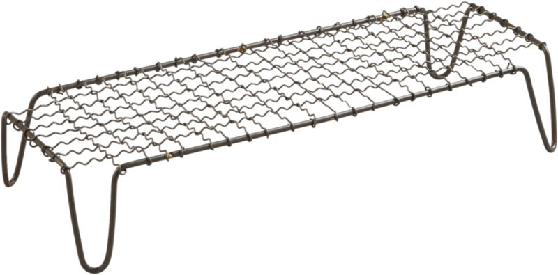 """<span class=""""copyHeader"""">wired for entertaining.</span> Iron wire pedestal gives industrial rise to platters of small bites. Create a hi/lo partyscape with crosshatch raised server short. Perfectly sized to pair with our bento rectangular platter in black or white, and black dip platter.<br /><br /><NEWTAG/><ul><li>Handcrafted</li><li>Powdercoated iron wire frame</li><li>Wipe with damp cloth</li></ul>"""