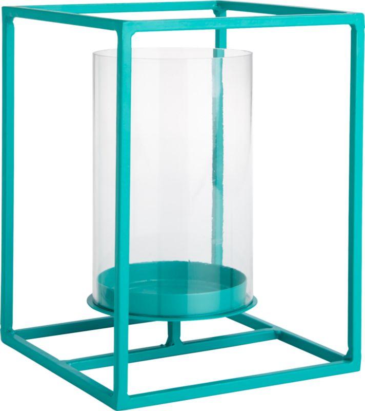 "<span class=""copyHeader"">light box.</span> Bright aqua steel rod lantern pedestals a single pillar candle in an open-air design. Floating, flickering light sets the colorful frame aglow at the indoor or outdoor dining table.<br /><br /><NEWTAG/><ul><li>Mild steel rod</li><li>Epoxy finish</li><li>Glass hurricane holds 3""x6"" pillar candle</li><li>Indoor and outdoor use</li><li>Wipe clean with damp cloth</li></ul>"