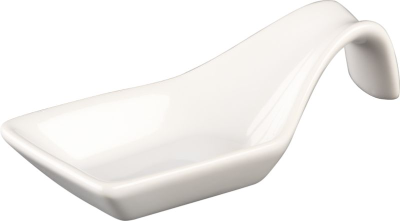 glossy white curve spoon